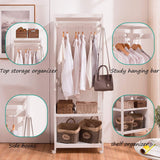 Kitchen free standing armoire wardrobe closet with full length mirror 67 tall wooden closet storage wardrobe with brake wheels hanger rod coat hooks entryway storage shelves organizer ivory white