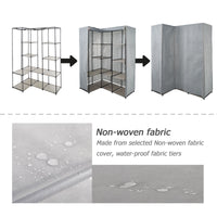 Organize with dporticus portable corner clothes closet wardrobe storage organizer with metal shelves and dustproof non woven fabric cover in gray