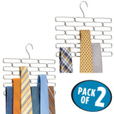 On amazon mdesign metal closet over rod hanging clothing and accessory organizer for scarves wraps tights ties snag free design 23 sections modern geometric wire design 2 pack chrome