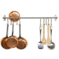 Stainless Steel Gourmet Kitchen Wall Rail and 10 Large S Hooks Set Utensil Pot Pan Lid Rack Storage Organizer
