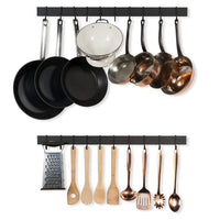 Wallniture Wall Mount Pot Pan Lid Rack Hanging Utensil Organizer Iron Black 30 Inch Set of 2