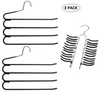 Frank Pressie 2 Pcs Pants Hangers Space Saving Clothes Organizer Skirts Stainless Steel Non Slip Black Rubber 4 Tier and Tie Hanger Hook Belt Rack Multi Layered Open Ended 24 Bar