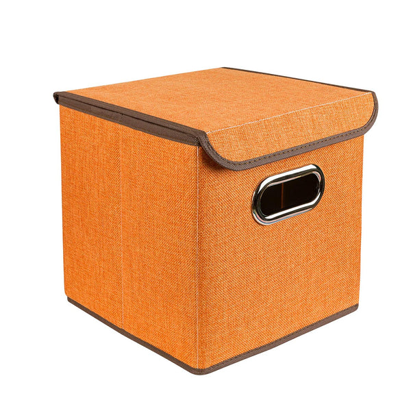 ZONYON Square Storage Container, Collapsible Basket,Cube Bin Storage,Closet Organizer,Nursery Hamper for Kid Room, Boys, Girls, Playingroom, Office, Living Room,10''X10''X10'',Orange
