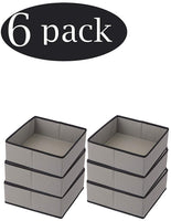 YBM HOME Fabric Closet/Dresser Drawer Storage Foldable,Organizer, Cube Basket containers Bin Underwear, Socks, Bras, Tights, Scarves,Ties Leggings Lingerie Gray Black Trim 2451-6 (6, Large)