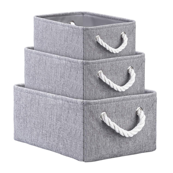 Save on kedsum fabric storage bins baskets foldable linen storage boxes with handles closet organizers bins cube storage baskets bins for shelves clothes closet nursery gray 3 pack