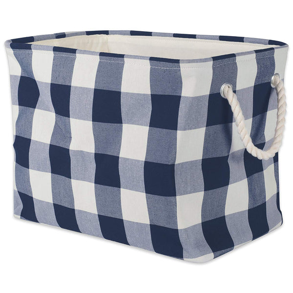 DII Polyester Storage Basket or Bin with Durable Cotton Handles, Home Organizer Solution for Office, Bedroom, Closet, Toys, Laundry, Large, Navy & Off-White