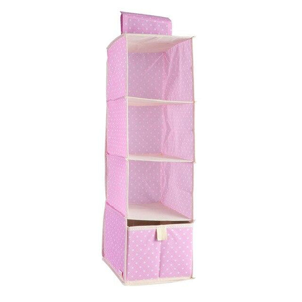 4 Tier Hanging Closet Organizer Foldable Non-Woven Hanging Shelves with 1 Drawer Nice for Girls Room/Nursery 25 x18x59cm
