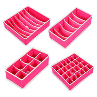 Pink Non-woven Foldable Storage Underwear ,Sock,Scarf, Drawer, Closet Organizer 4 pc Set