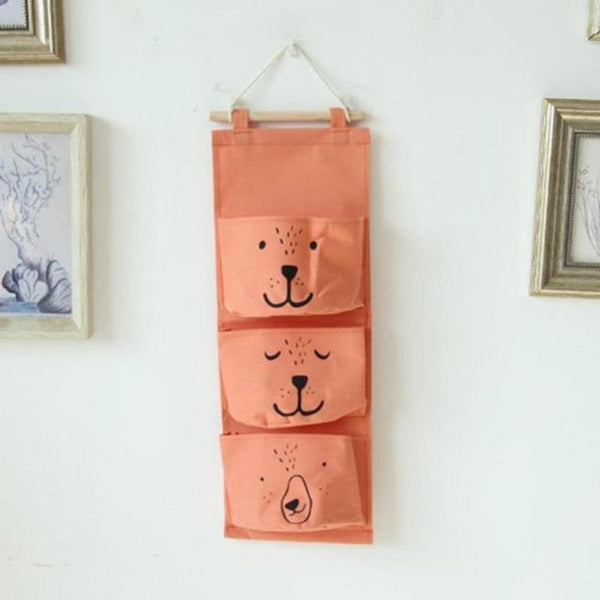 Linen 3 Pockets Wall Hanging Storage Bags Organizer On Sale