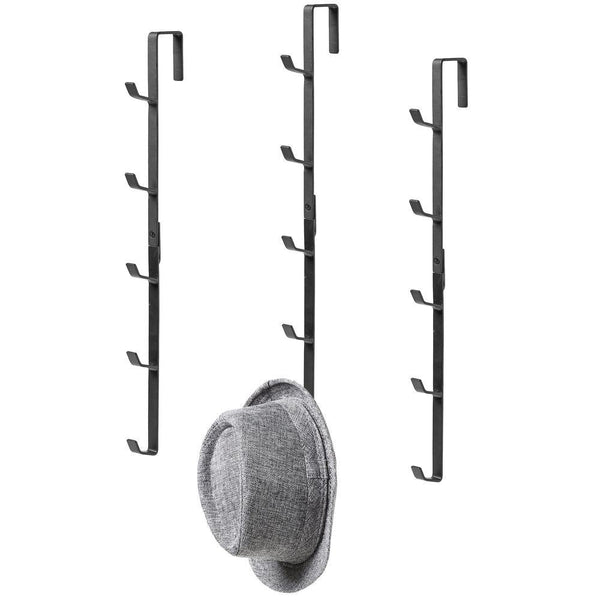 Black Metal Over-the-Door Coat, Hat and Purse Rack with 5 Hooks, Set of 3