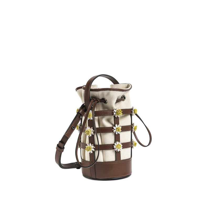 Miss Daisy Bucket Bag with Canvas Pouch - Brown Nappa