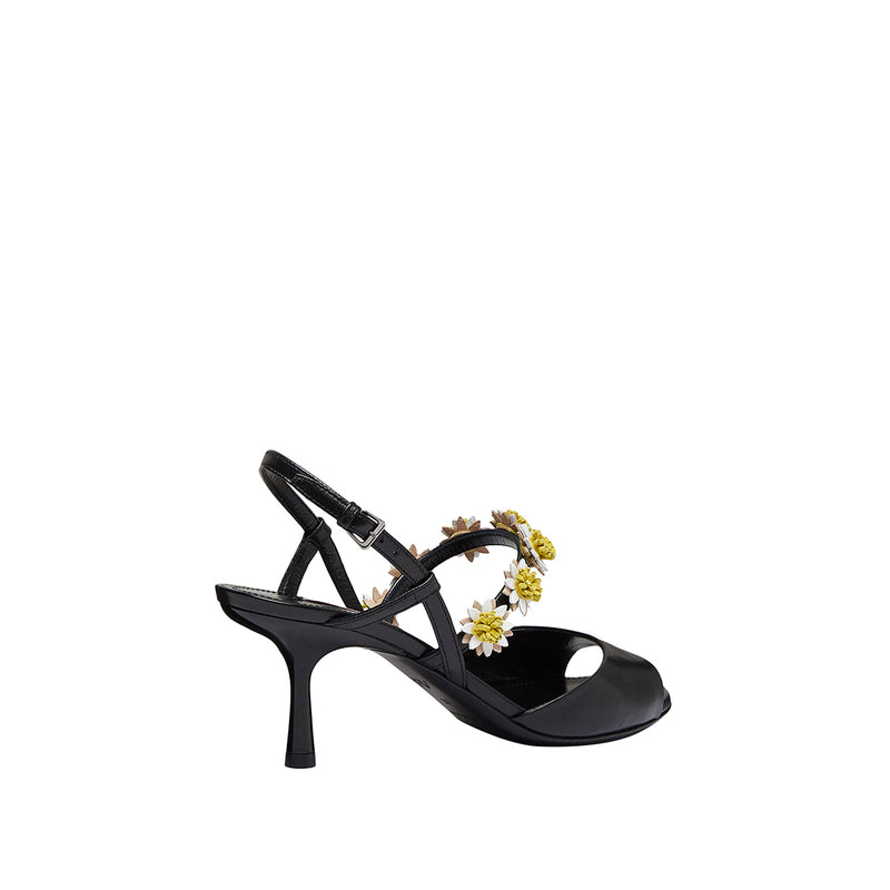 Bea Open-Toe Slingback - Black