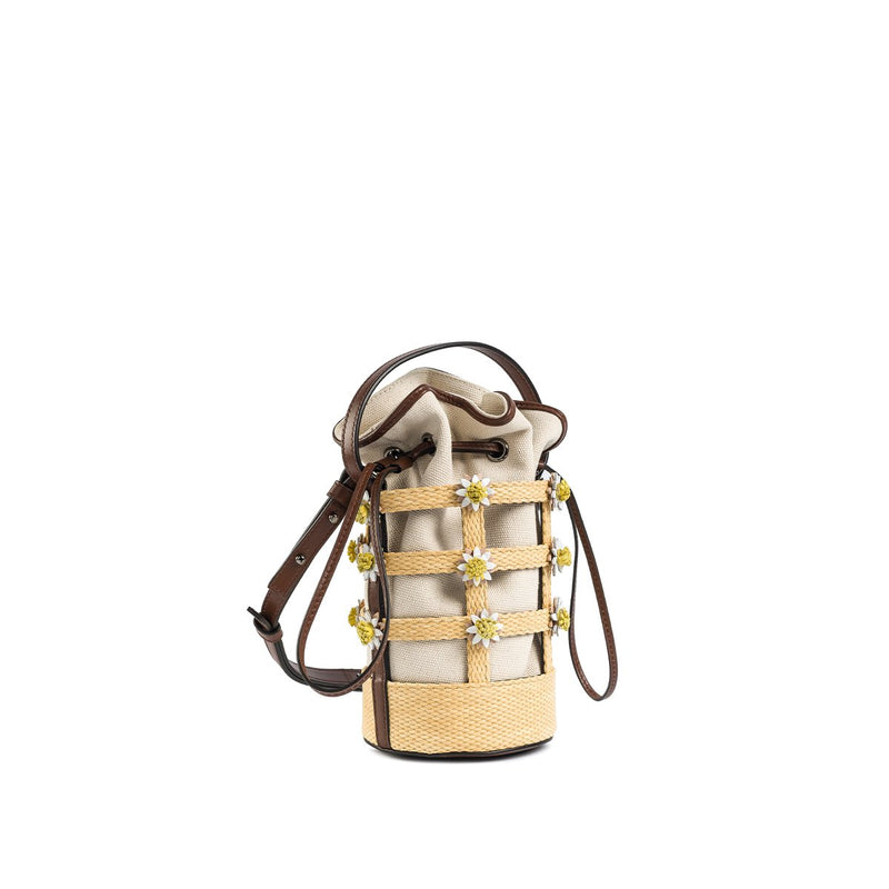 Miss Daisy Bucket Bag with Canvas Pouch - Raffia