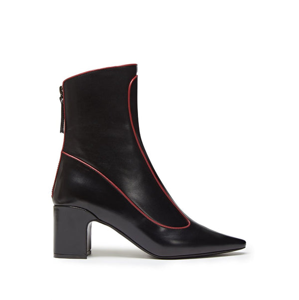 Timeless Mid Heel Bootie - Black with Bordeaux Piping