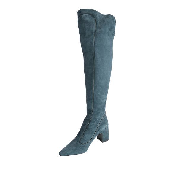 Timeless Over The Knee Boot - Petrol Blue with Black Piping