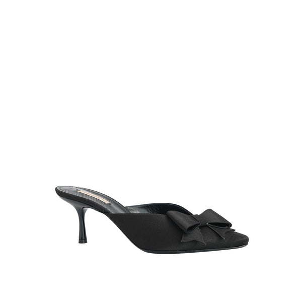 Nina Pointed Toe Mini Mule - Black