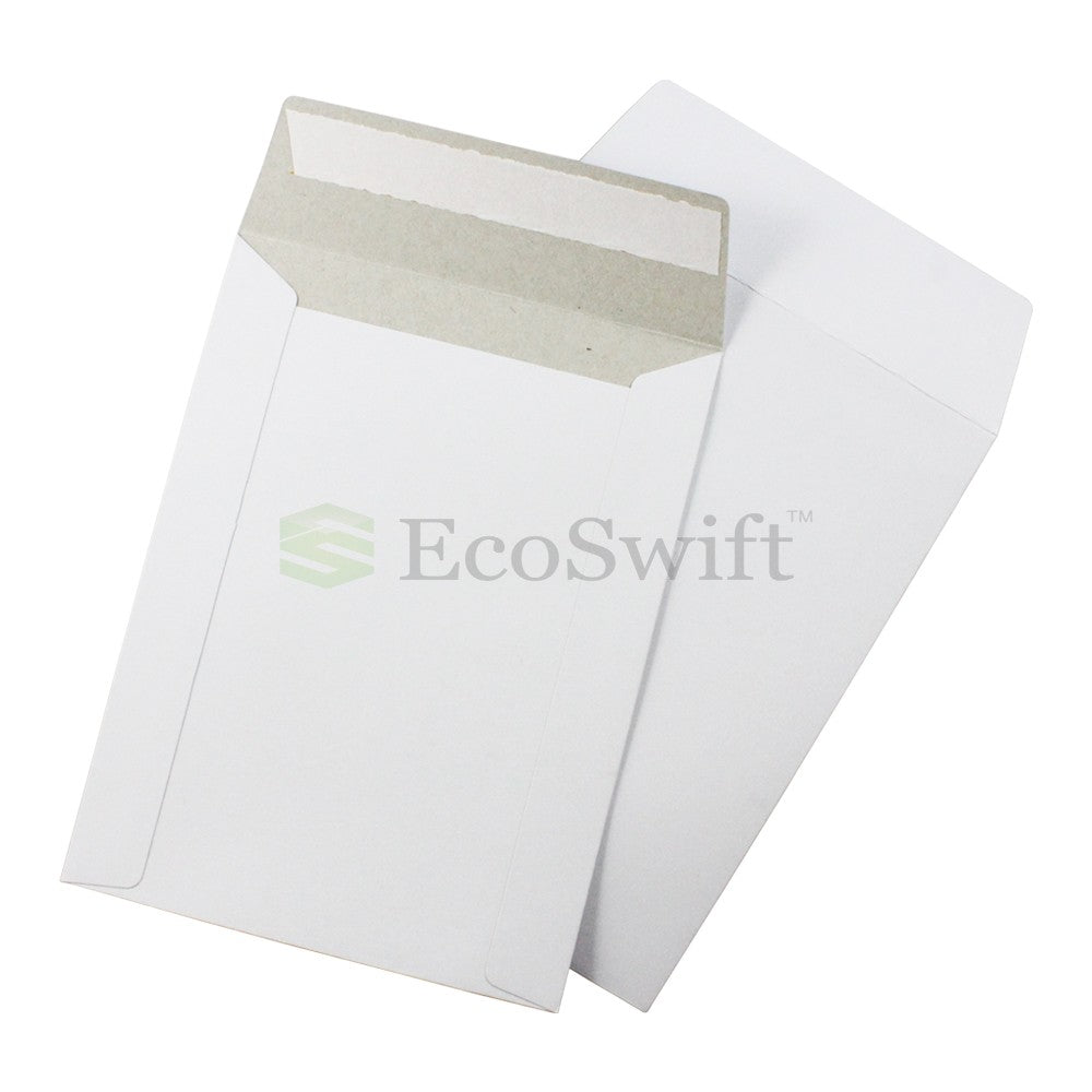 Self-Seal Keep Flat White Cardboard Mailers - 6 x 8