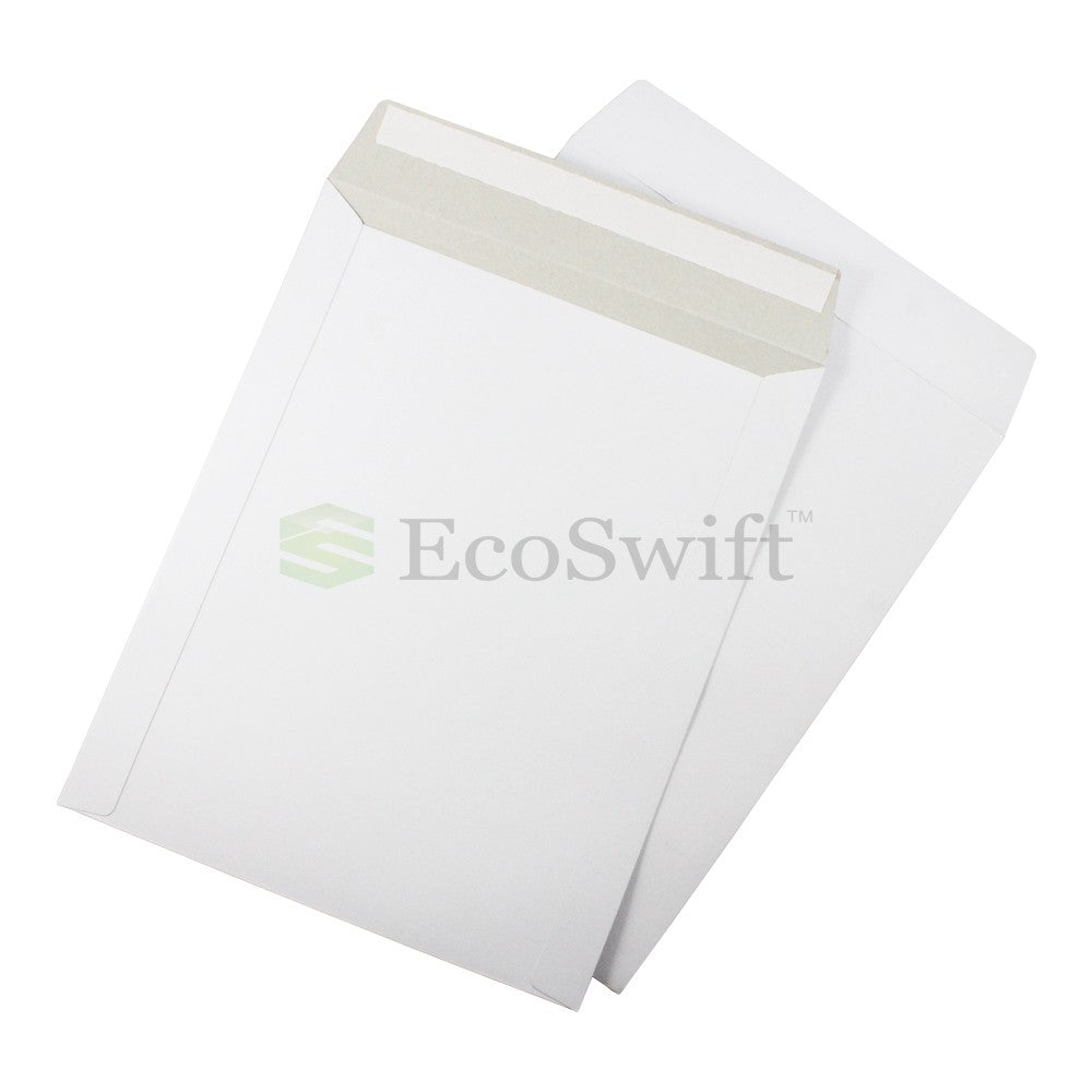 Self-Seal Keep Flat White Cardboard Mailers - 9 3/4 x 12 1/4