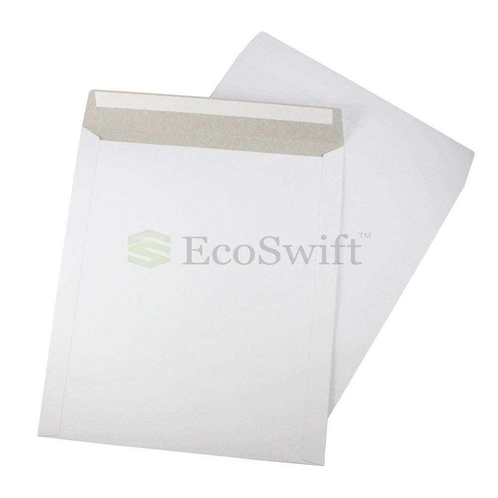 Self-Seal Keep Flat White Cardboard Mailers - 12 3/4 x 15