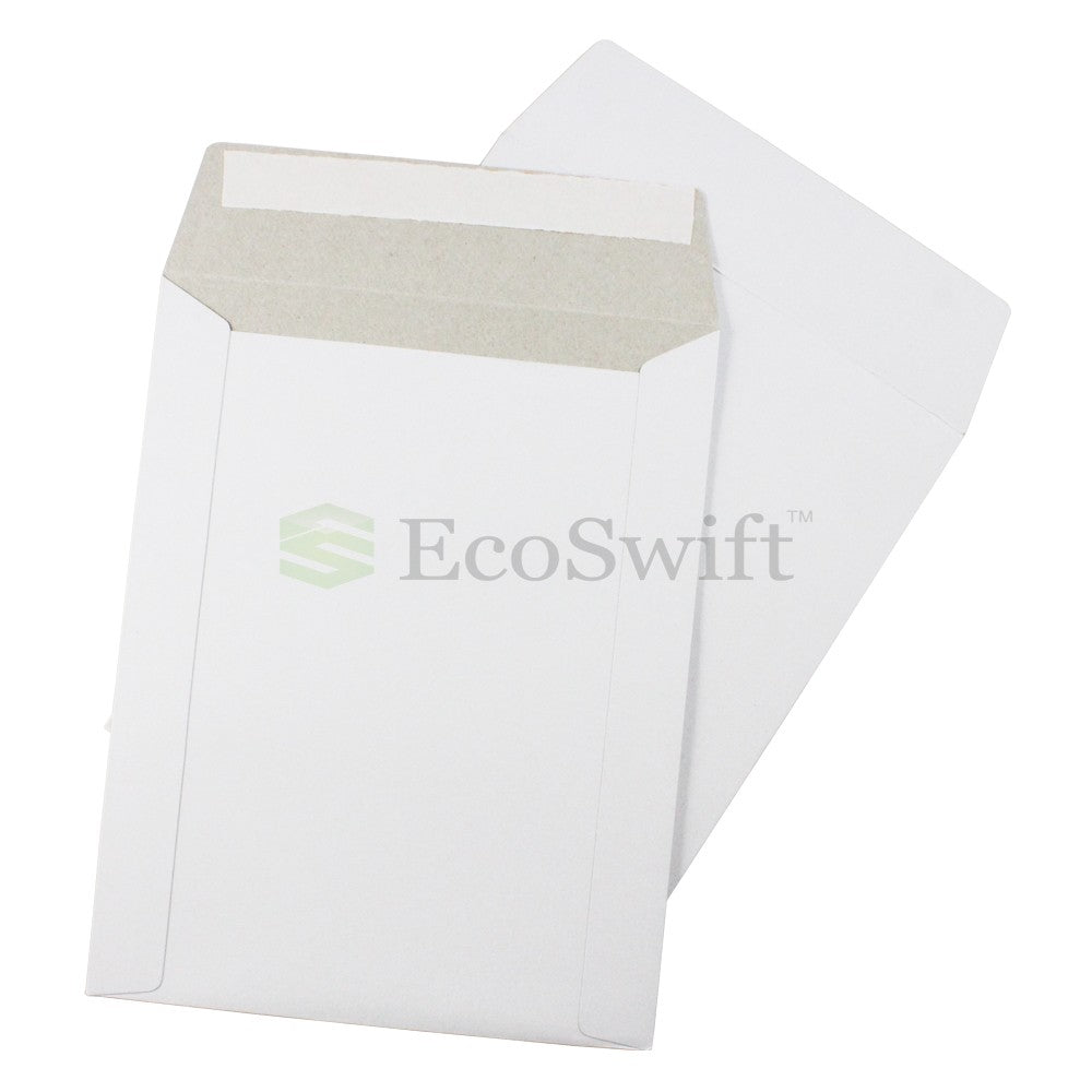 Self-Seal Keep Flat White Cardboard Mailers - 7 x 9