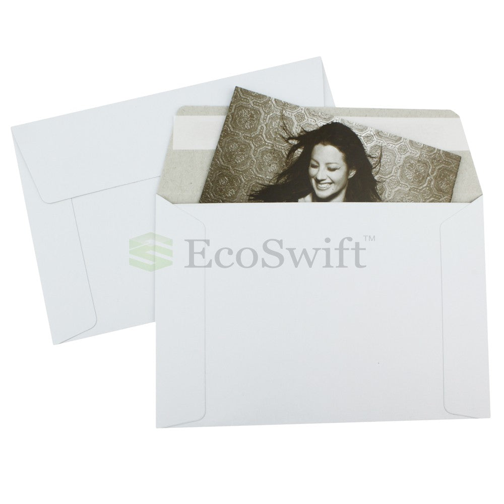 Self-Seal Keep Flat White Cardboard Mailers - 6 1/2 x 4 1/2