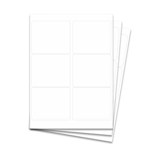 "Laser Labels - White, 4 x 3 1/3"" (6 Labels per Sheet)"