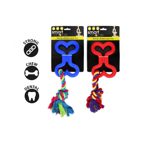 Strong Rubber Bone and Rope Toy - PDSA Pet Store