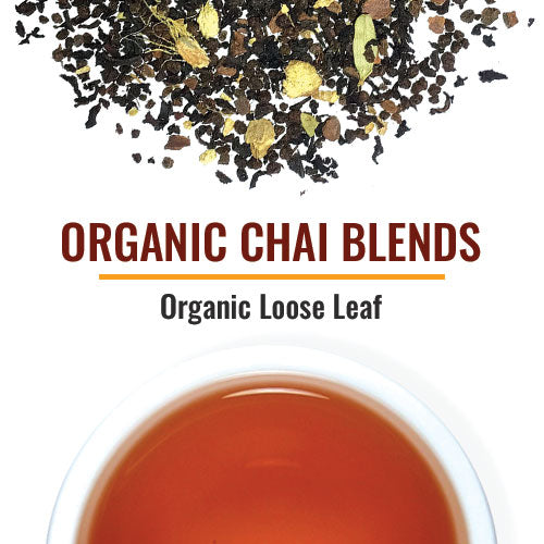 "Organic Chai Blends Although ""Chai"" is the universal word for ""tea"" in many countries, the word CHAI in the U.S. has come to mean Spiced or ""Masala"" Tea, served already combined with milk and sugar. Our Chai blends start with real tea and authentic spices - no mixes or powders here. We offer two varieties on a Black Tea base and a couple on a non-caffeinated Rooibos base. We also have a popular Turmeric Chai in our collection. Chai blends are best-sellers and highly recommended."