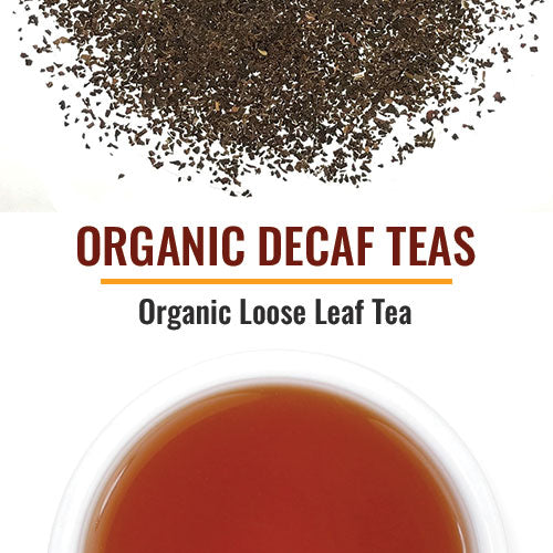 Organic Decaf Teas Decaffeinated teas are scarce and difficult to procure. Our organic decaf teas are water-decaffeinated and from India. They steep a mild cup since the process of decaffeination robs the tea of some flavor.