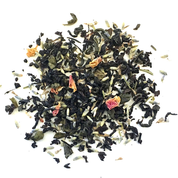 black and green tea with lavender and rose