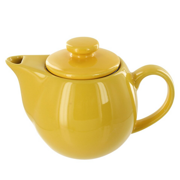Yellow 14 ounce teapot with stainless steel infuser.