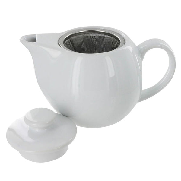 White 14 oz. Teapot with Infuser Basket and Lid.