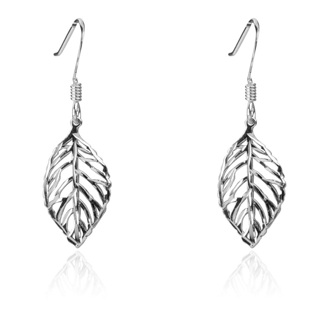 Leaf Earrings, 925 Sterling Silver, Diamond Cut
