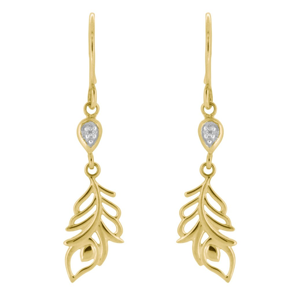 Feather Drop Earrings, 9ct Yellow Gold