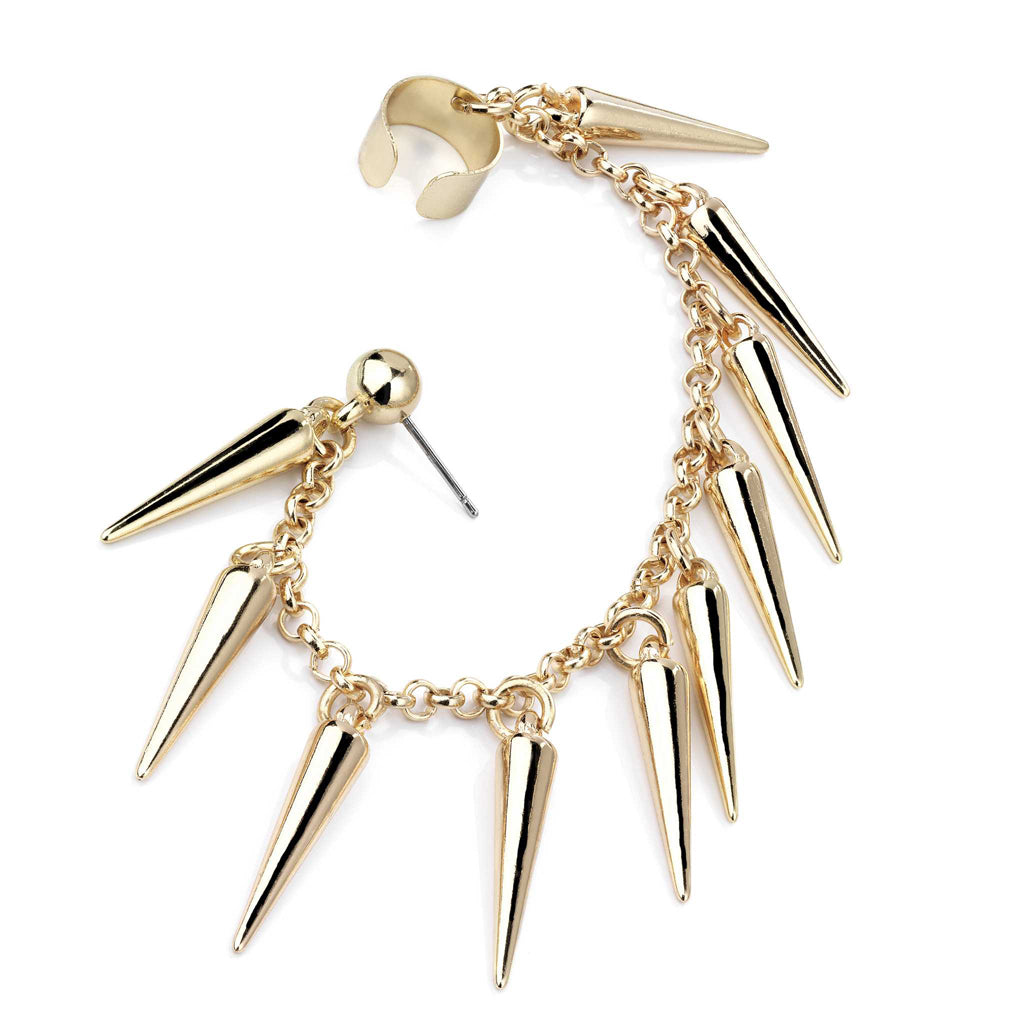 Gold Ear Cuff Spike Tassel Earring