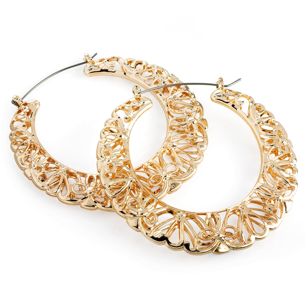 Gold Ornate Hoop Earrings