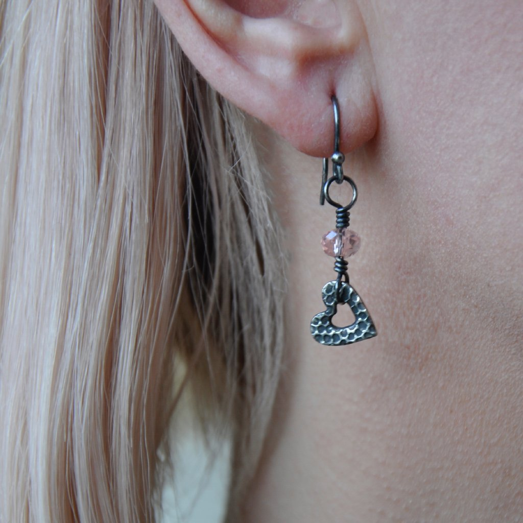 Silver Drop Heart Earrings