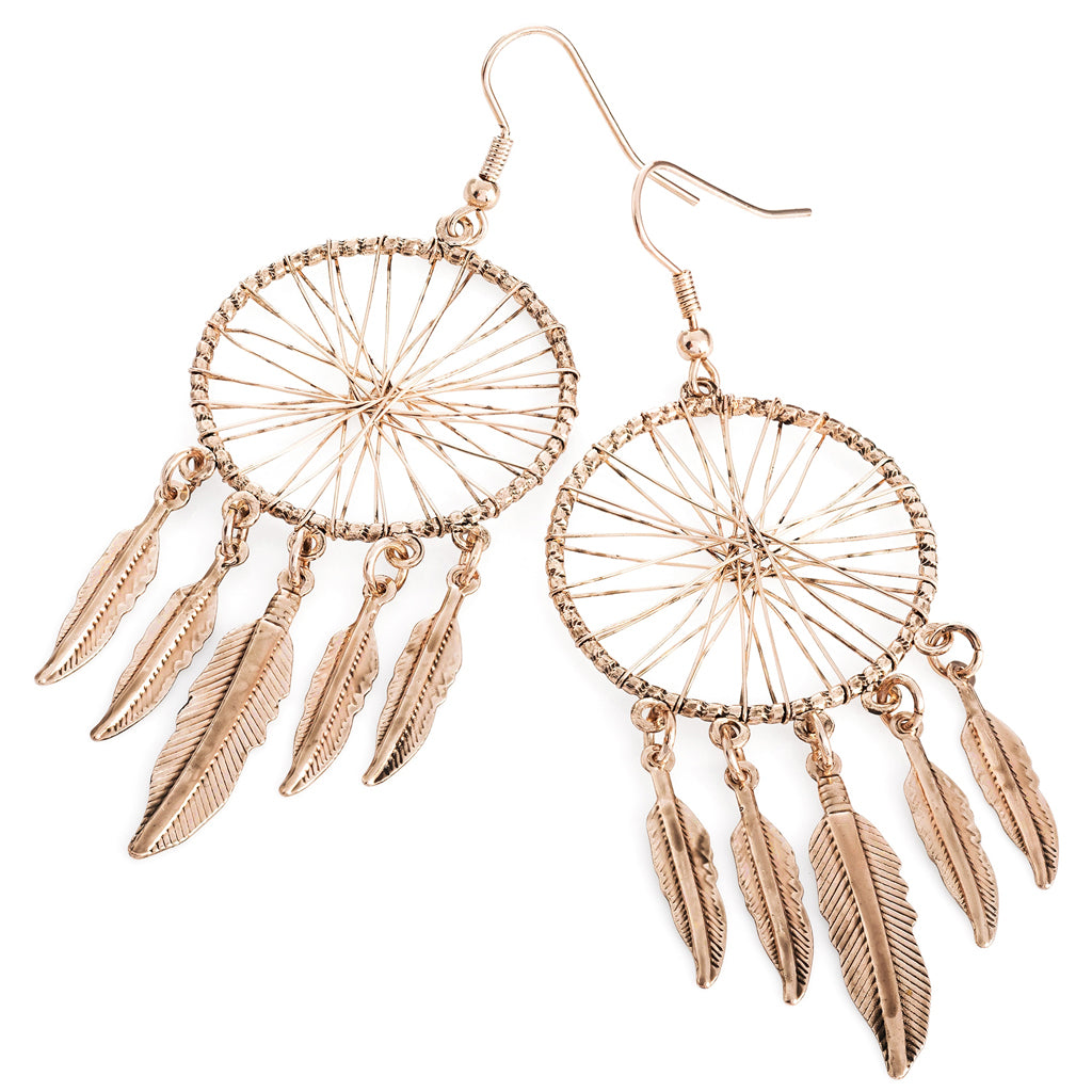 Rose Gold Dreamcatcher Drop Earrings