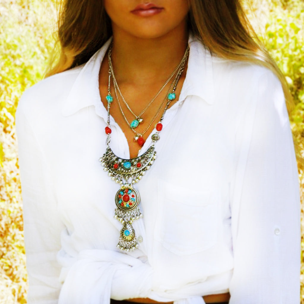 Tribal Multirow Beaded Drop Necklace