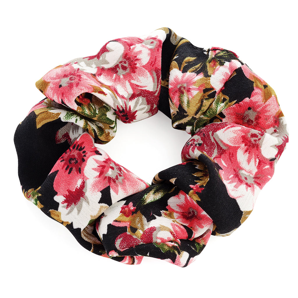 Black Flower Print Hair Scrunchie