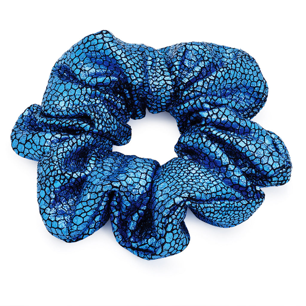 Blue Metallic Foil Print Hair Scrunchie