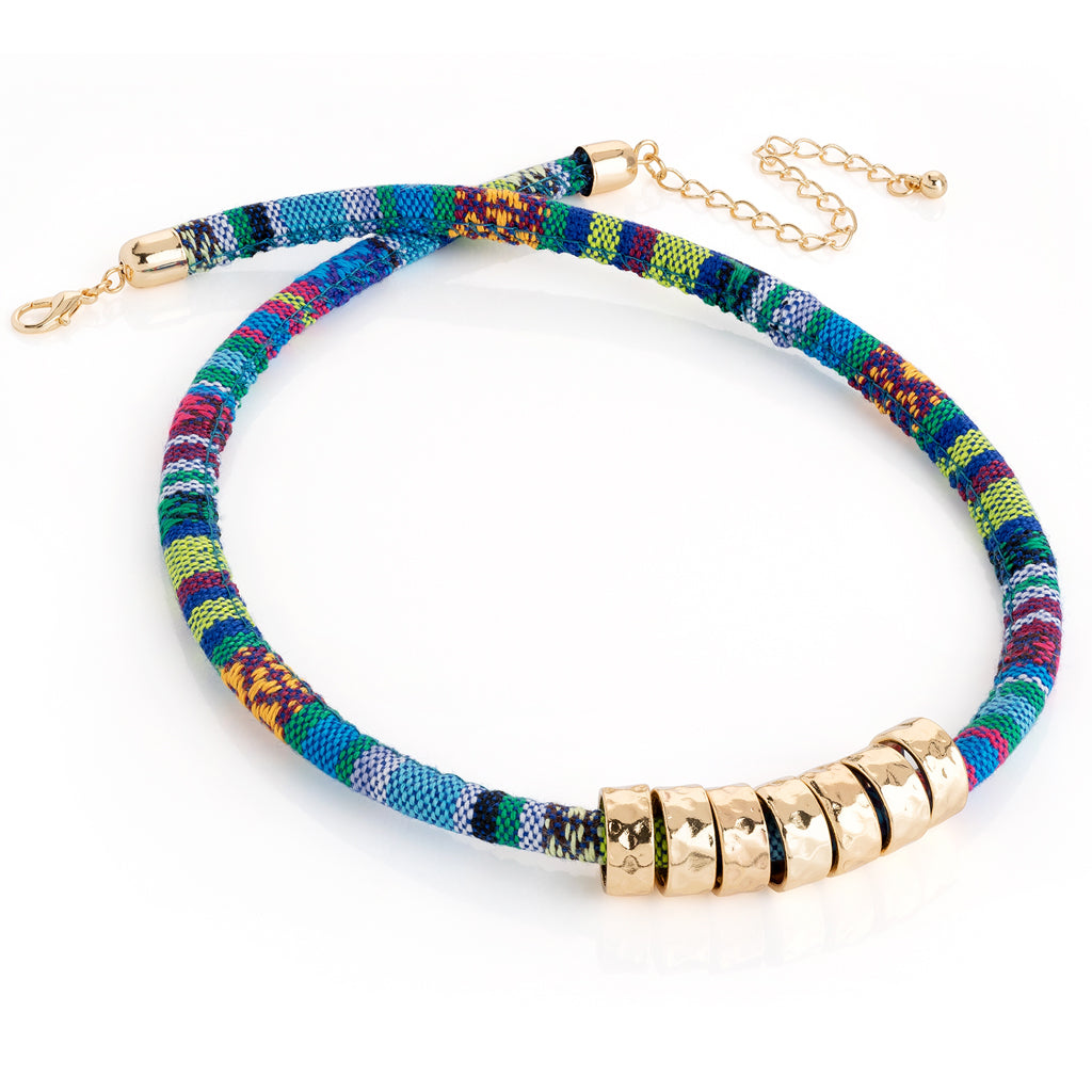 Blue Tribal Rope Necklace