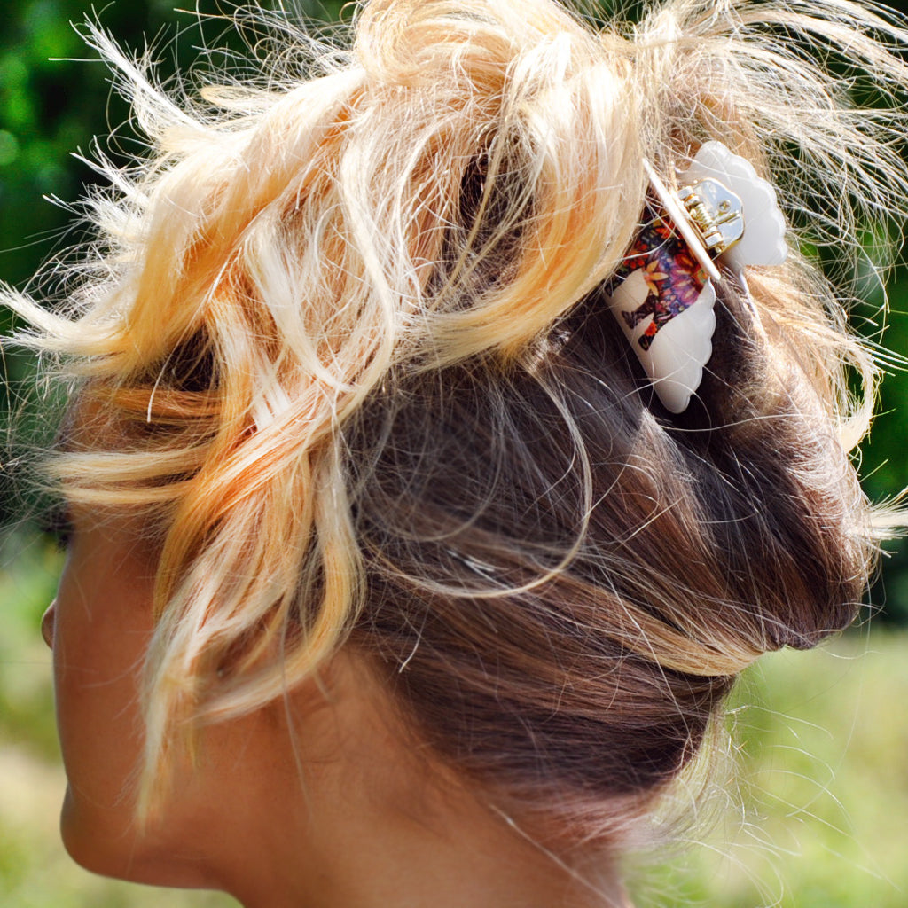 Cream Boho Elephant Bulldog Hair Clip