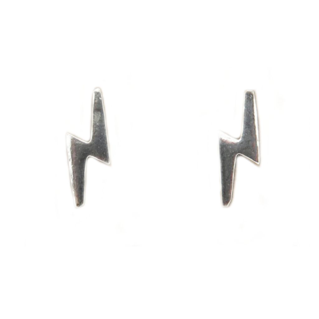 Sterling Silver Lightning Strike Stud Earrings