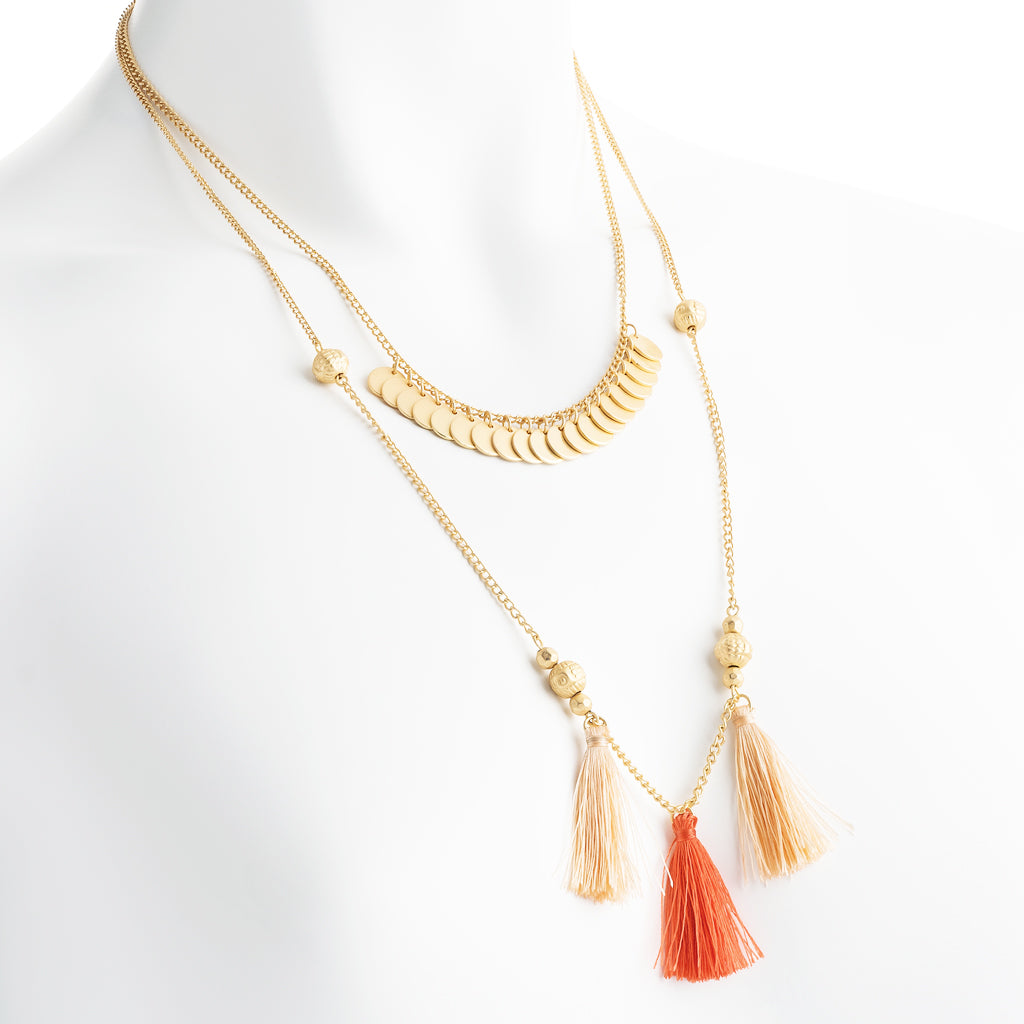 Coin and Tassel Multi Row Necklace