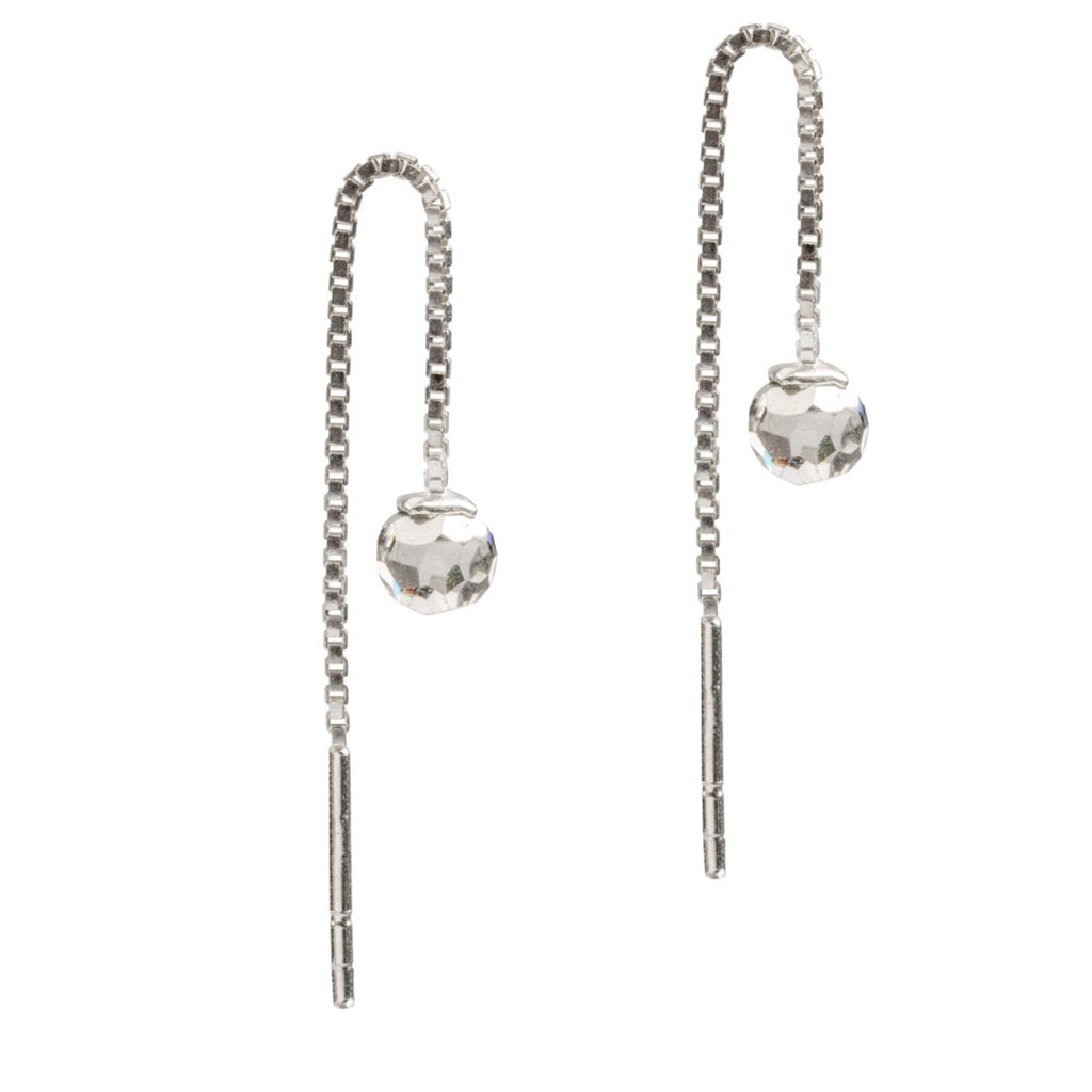 Crystal Ball Threaders, 925 Sterling Silver