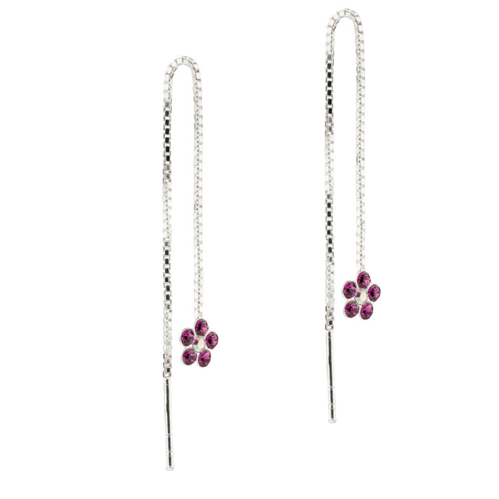 Flower Threaders, Pink, 925 Sterling Silver