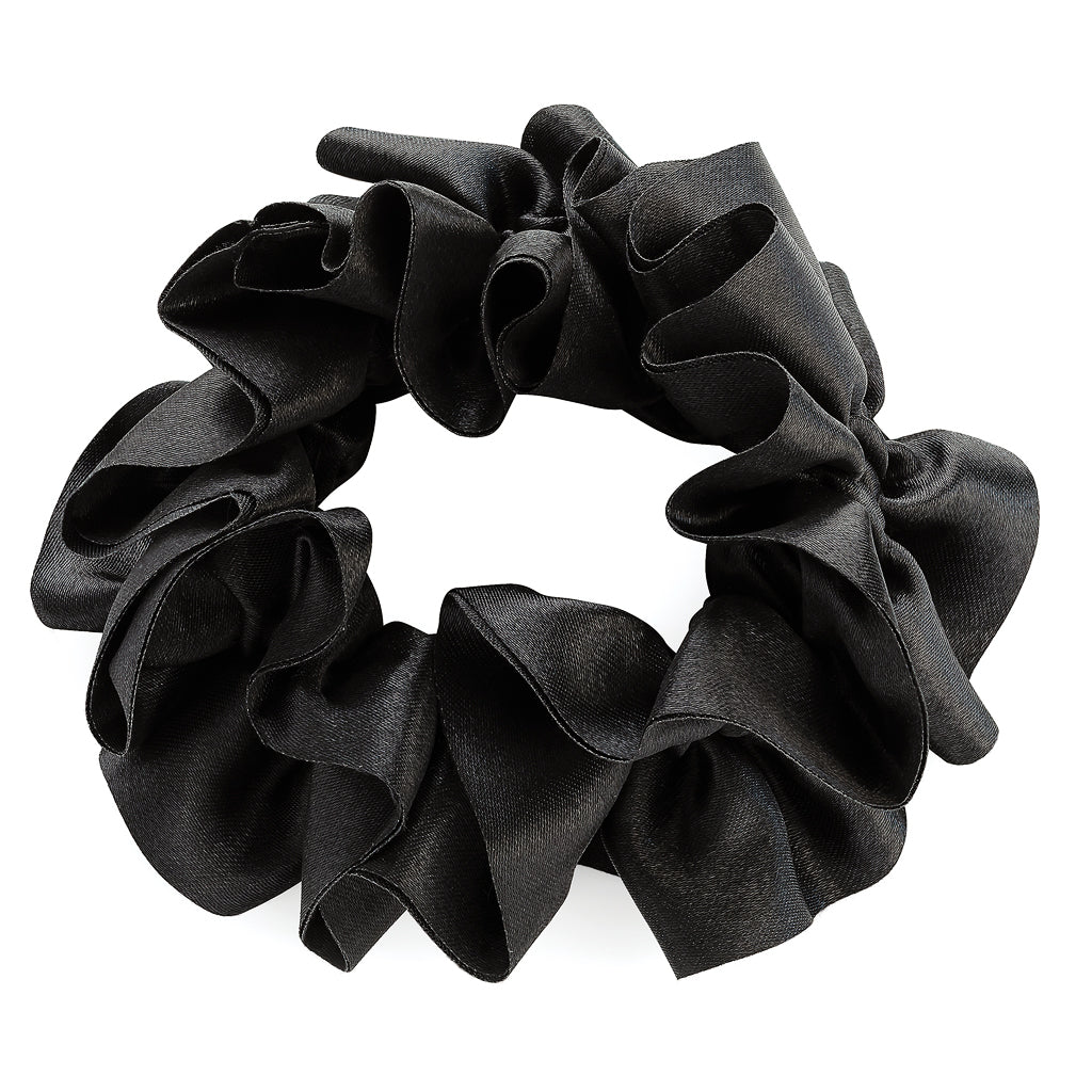 Ruffle Black Hair Scrunchie