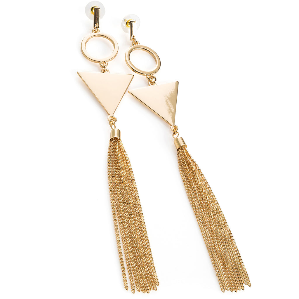 Gold Triangle Geo Tassel Drop Earrings