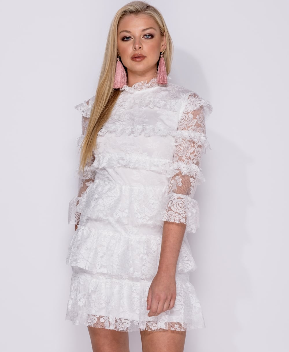 White High Neck Lace Tiered Mini Dress